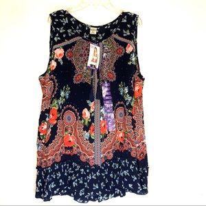 Bila Tunic Style Boho Floral Sleeveless Top.